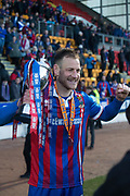 24th March 2018, McDiarmid Park, Perth, Scotland; Scottish Football Challenge Cup Final, Dumbarton versus Inverness Caledonian Thistle; Gary Warren of Inverness Caledonian Thistle with the Irn-Bru Cup