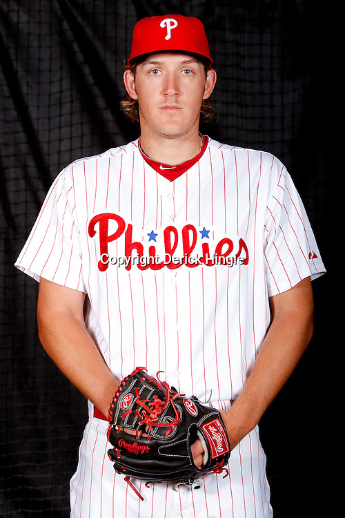February 22, 2011; Clearwater, FL, USA; Philadelphia Phillies starting pitcher Drew Naylor (64) poses during photo day at Bright House Networks Field. Mandatory Credit: Derick E. Hingle