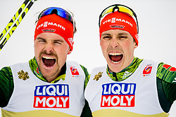 February 24, 2019 - Seefeld In Tirol, AUSTRIA - 190224 Fabian Riessle and Eric Frenzel of Germany celebrates winning the men's nordic combined team sprint during the FIS Nordic World Ski Championships on February 24, 2019 in Seefeld in Tirol..Photo: Vegard Wivestad GrÂ¿tt / BILDBYRN / kod VG / 170297 (Credit Image: © Vegard Wivestad Gr¯Tt/Bildbyran via ZUMA Press)