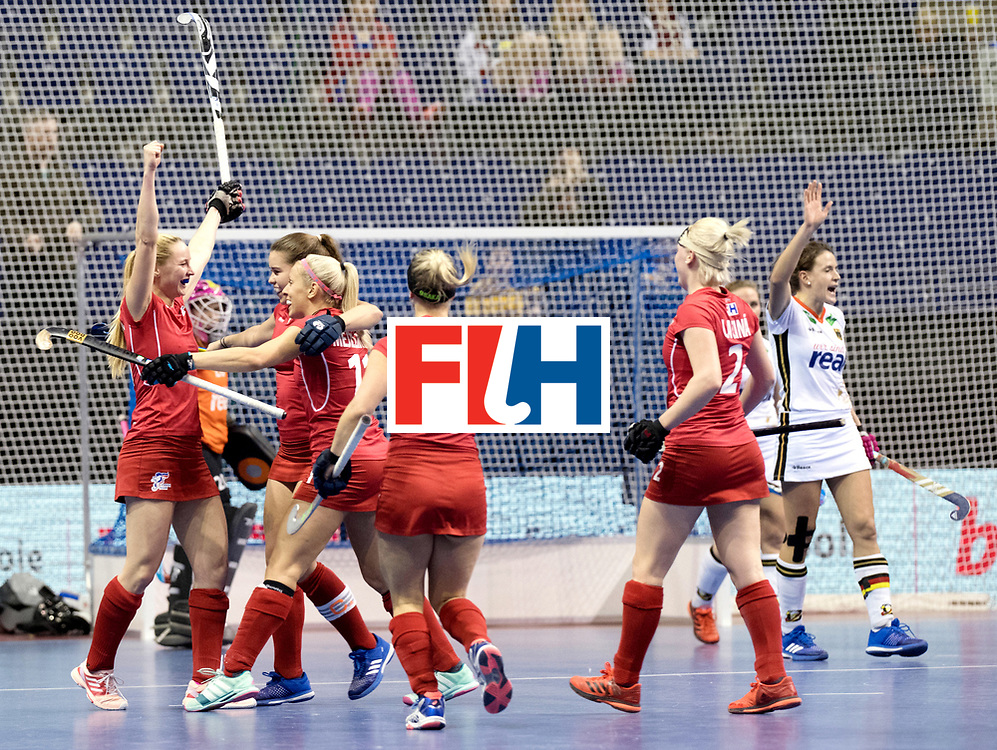 BERLIN - Indoor Hockey World Cup<br /> Women: Czech Republic - Germany<br /> foto: Czech Republic celebrate.<br /> WORLDSPORTPICS COPYRIGHT FRANK UIJLENBROEK