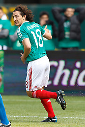 March 26, 2011; Oakland, CA, USA;  Mexico midfielder Andres Guardado (18) celebrates after a goal against Paraguay during the first half at Oakland-Alameda County Coliseum. Mexico defeated Paraguay 3-1.