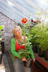 Carol Klein carrying dahlias out of the greenhouse