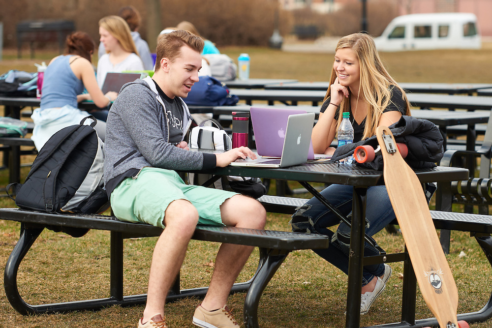 Activity; Studying; Socializing; Relaxing; Location; Outside; Objects; Computer; People; Woman Women; Student Students; Man Men; Spring; March; Time/Weather; cloudy; day; Type of Photography; Candid; UWL UW-L UW-La Crosse University of Wisconsin-La Crosse