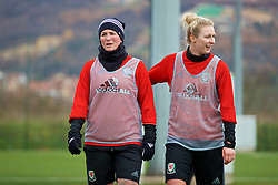 ZENICA, BOSNIA AND HERZEGOVINA - Monday, November 27, 2017: Wales' Helen Ward and Rhiannon Roberts during a training session ahead of the FIFA Women's World Cup 2019 Qualifying Round Group 1 match against Bosnia and Herzegovina at the FF BH Football Training Centre. (Pic by David Rawcliffe/Propaganda)