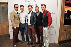 Left to right, Lachie Chapman, Mark Franks, Mike Crawshaw, Darren Everest and Timmy Mately of The Overtones at a pool party to celebrate the UK launch of the Omega Ladymatic Collection held at the Haymarket Hotel, Haymarket, London on 16th June 2011.