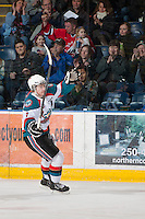 KELOWNA, CANADA - JANUARY 26: Zach Franko #9 of the Kelowna Rockets celebrates a goal against the Prince Albert Raiders at the Kelowna Rockets on January 26, 2013 at Prospera Place in Kelowna, British Columbia, Canada (Photo by Marissa Baecker/Shoot the Breeze) *** Local Caption ***