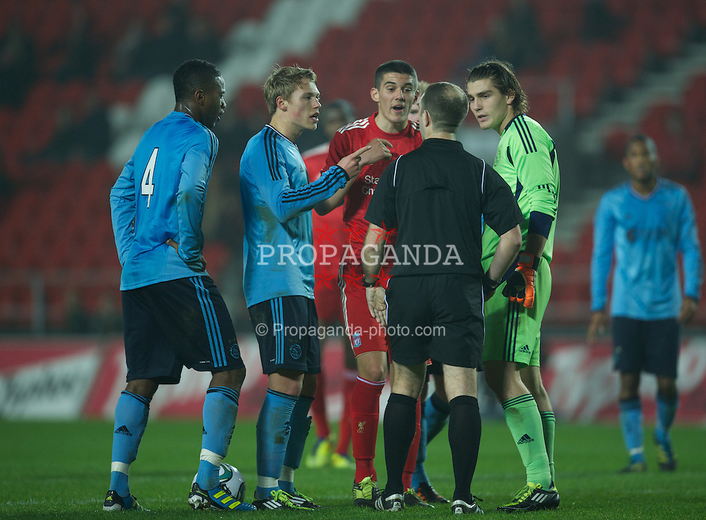 ST HELENS, ENGLAND - Wednesday, March 14, 2012: Liverpool's captain Conor Coady argues with the referee against AFC Ajax during the NextGen Series Semi-Final match at Langtree Park. (Pic by David Rawcliffe/Propaganda)
