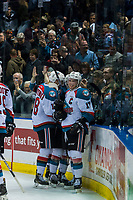 KELOWNA, CANADA - MARCH 11: Rodney Southam #17 of the Kelowna Rockets celebrates the OT win against the Victoria Royals on March 11, 2017 at Prospera Place in Kelowna, British Columbia, Canada.  (Photo by Marissa Baecker/Shoot the Breeze)  *** Local Caption ***