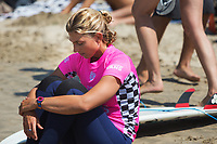 Huntington Beach, CA - August 06: Sage Erickson meditates prior to the womens finals heat at the Vans US Open of Surfing in Huntington Beach, California on August 6th, 2017. (Photo Jim Kruger/Kruger-images.com)