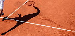 08.08.2015, Sportpark, Kitzbuehel, AUT, ATP World Tour, Generali Open, Finale, Einzel, im Bild Schatten von Paul Henri Mathieu (FRA) // the Shadow from Paul Henri Mathieu of France in action during men' s singles Final match of the Generali Open tennis tournament of the ATP World Tour at the Sportpark in Kitzbuehel, Austria on 2015/08/08. EXPA Pictures © 2015, PhotoCredit: EXPA/ JFK