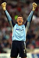 Photo Aidan Ellis.<br />Sheffield United v Nottingham Forest.<br />Nationwide Divison 1 Play Off Semi Final 2nd leg.<br />15/05/2003.<br />Forest Keeper Darren Ward celebrates David Johnson's goal