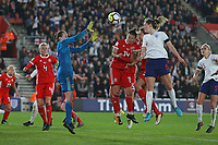Football - 2017 / 2018 Womens World Cup Qualifier - UEFA Group One: England vs. Wales<br /> <br /> Englands Abbie McManus has close range header saved by Laura O'Sullivan of Wales at St Marys Stadium<br /> <br /> COLORSPORT/SHAUN BOGGUST