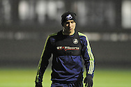 Jonjo Shelvey arrives for Swansea city FC team training in Landore, Swansea, South Wales on Wed 19th Feb 2014. the team are training ahead of tomorrow's UEFA Europa league match against Napoli.<br /> pic by Phil Rees, Andrew Orchard sports photography.
