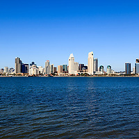 High resolution photo of San Diego skyline downtown city buildings during the day accross San Diego Bay in Southern California.
