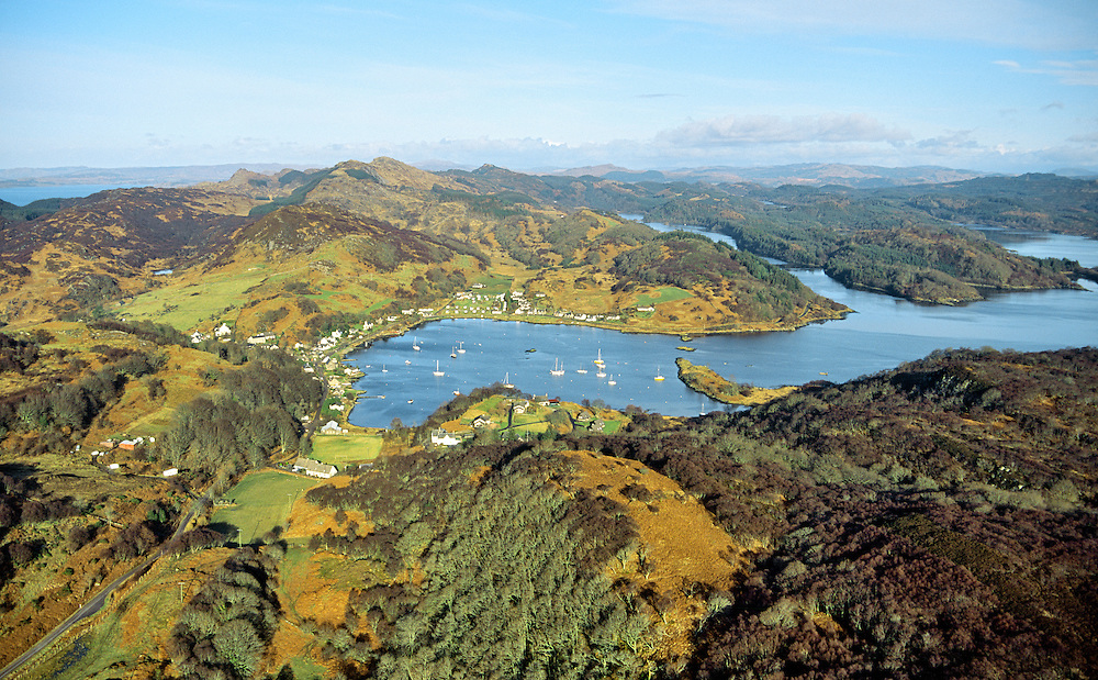 Aerial view north over the safe anchorage of Tayvallich on Loch Sween west of Lochgilphead, Argyll, Strathclyde, Scotland, UK