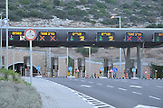 Israel, Haifa, The toll booths at the entrance to the Carmel Tunnels. A 6.5 Km highway built under the Carmel Mountain (4.7 Km of tunnelling is required)