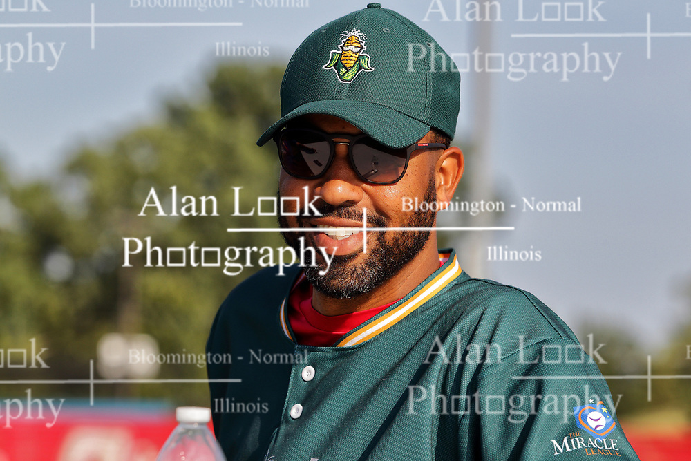 04 August 2018: Derek Lee.   Legends Game for the Miracle League at Corn Crib Stadium on the campus of Heartland Community College in Normal Illinois<br /> <br /> Game featured retired MLB players from the ST. Louis Cardinals and the Chicago Cubs...  Derek Lee, Bobbie Dernier, Kyle Farnsworth, Les Lancaster, Ray Lankford, Kerry Robinson, Jim Edmonds, and Aramis Ramirez