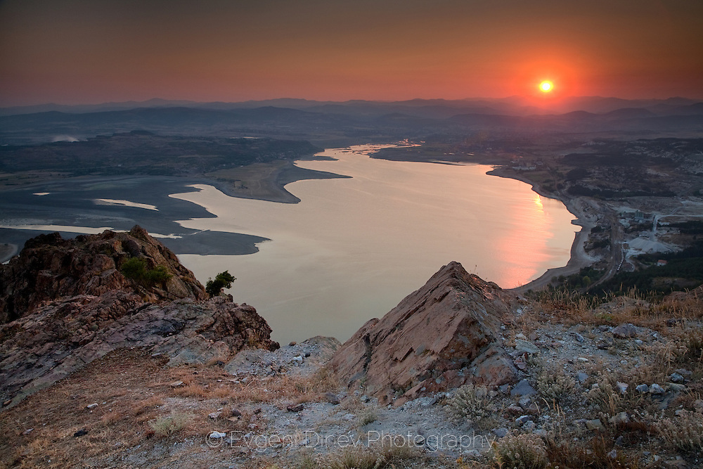 A vieaw to Studen Kladenets lake from Monyak fortress at sunset