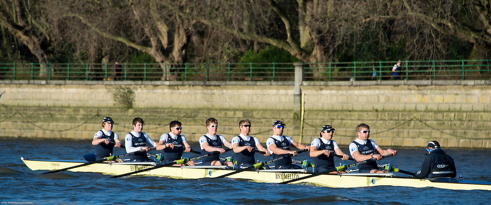 London, United  Kingdom. Oxford University Men's Boat Club,Trial Eights.  Crews Per Terram on the Middx Station along the Fulham Wall.<br /> <br /> BNY Mellon Men&rsquo;s Boat. Putney-Mortlake. River Thames, Championship Course. Wednesday  10/12/2014<br /> [Mandatory Credit:  Peter SPURRIER/Intersport Images] .   Empacher