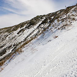 Spring snow conditions on the headwall of King Ravine in New Hampshire's White Mountains.  King Ravine is a glacial cirque on the north side of Mount Adams.