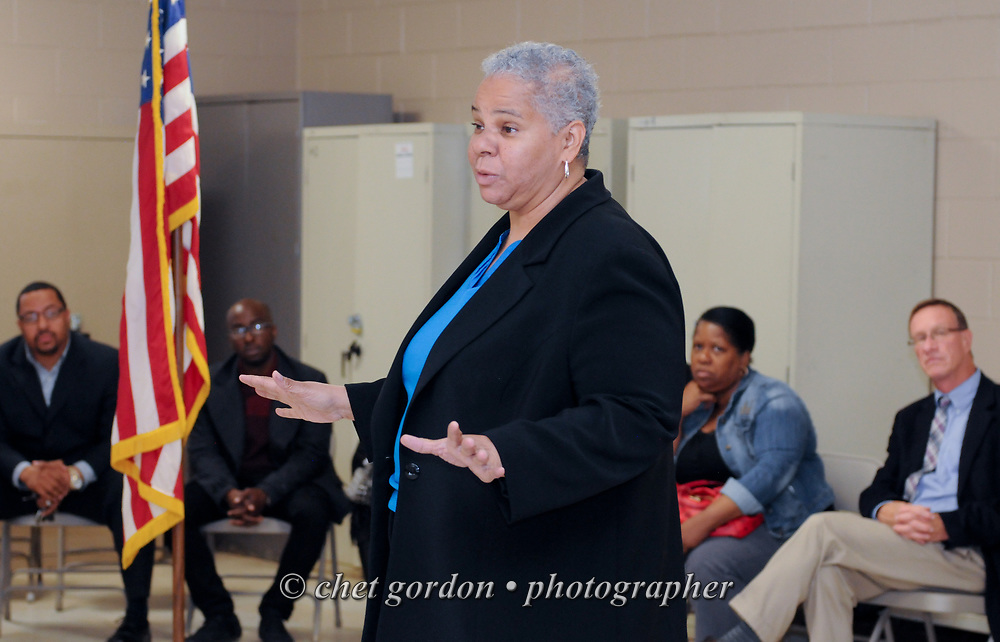 City of Newburgh Councilwoman and Mayoral candidate Gay Lee speaks during a meeting of the Newburgh Democratic Committee in Newburgh, NY on Tuesday, June 2, 2015. Mayoral candidates Lee and Orange County Democratic Committee Chairman Jonathan Jacobson were to make their formal announcements for candidacy in the upcoming mayoral race of Orange County's largest city, but the committee held up the formal announcements. Jacobson also stepped down as the Chairman of the Newburgh Democratic Committee Chairman during the meeting.  © Chet Gordon • Photographer