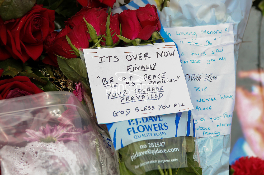 Flowers at the Hillsborough Memorial outside the Stadium before the Sky Bet Championship match between Sheffield Wednesday and Cardiff City at Hillsborough, Sheffield, England on 30 April 2016. Photo by Ellie Hoad.