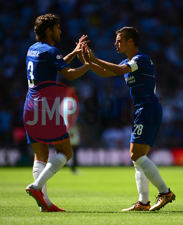 Marcos Alonso of Chelsea and Cesar Azpilicueta of Chelsea - Mandatory by-line: Alex James/JMP - 05/08/2018 - FOOTBALL - Wembley Stadium - London, England - Manchester City v Chelsea - FA Community Shield