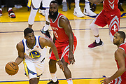 Golden State Warriors forward Kevon Looney (5) snags a loose ball against the Houston Rockets during Game 3 of the Western Conference Finals at Oracle Arena in Oakland, Calif., on May 20, 2018. (Stan Olszewski/Special to S.F. Examiner)