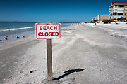 Redington Beach, Pinellas County,  Florida, USA., Monday, 15th October, 2018, Warning Sign, Beach Closed, for Sand, Beach Replenishment,
