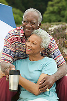 Senior couple embracing outdoors