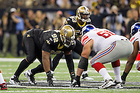 28 November 2011: Defensive tackle (92) Shaun Rogers of the New Orleans Saints lines up against the New York Giants during the first half of the Saints 49-24 victory over the Giants at the Mercedes-Benz Superdome in New Orleans, LA.
