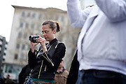 Frankfurt am Main   11 Apr 2015<br /> <br /> Am Samstag (11.04.2015) demonstrierten etwa 35 Personen der Gruppe &quot;Freie B&uuml;rger f&uuml;r Deutschland&quot; (FBfD, ex PEGIDA) auf dem Rossmarkt in Frankfurt am Main gegen &quot;Islamisierung&quot;, ihre Redebeitr&auml;ge gingen in dem Geschrei der etwa 800 Gegendemonstranten unter.<br /> Hier: Die FBfD-Aktivistin Ester Seitz filmt mit einer Videokamera.<br /> <br /> &copy;peter-juelich.com<br /> <br /> [Foto honorarpflichtig   No Model Release   No Property Release]
