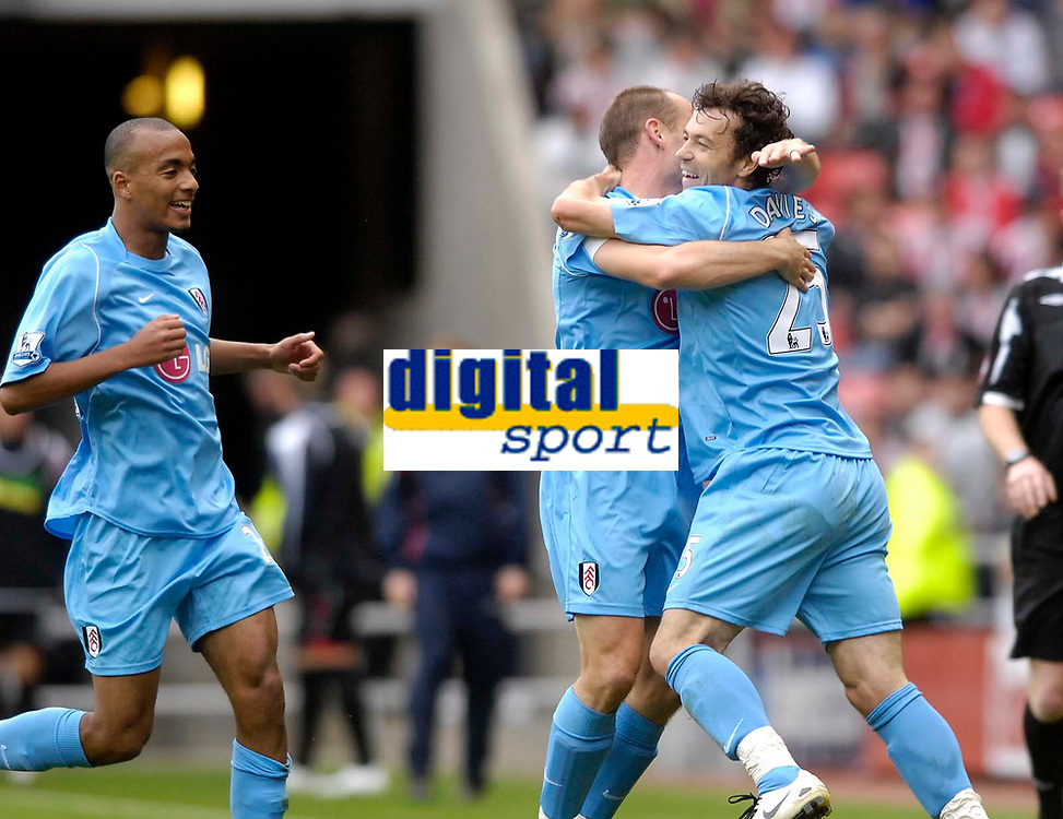 Photo: Jed Wee/Sportsbeat Images.<br /> Sunderland v Fulham. The FA Barclays Premiership. 27/10/2007.<br /> <br /> Fulham's Simon Davies (R) celebrates after his freekick beats everybody and ends up in the back of the net.