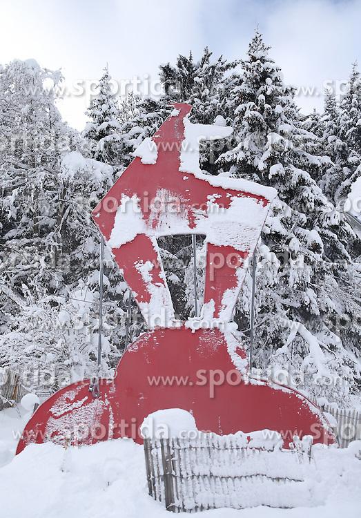 19.01.2016, Streif, Kitzbuehel, AUT, FIS Weltcup Ski Alpin, Kitzbuehel, 1. Abfahrtstraining, Herren, im Bild Kitzbuehel Gams // Sign of Kitzbuhel during 1st Training of the men's Downhill Race of Kitzbuehel FIS Ski Alpine World Cup at the Streif in Kitzbuehel, Austria on 2016/01/19. EXPA Pictures © 2016, PhotoCredit: EXPA/ Johann Groder