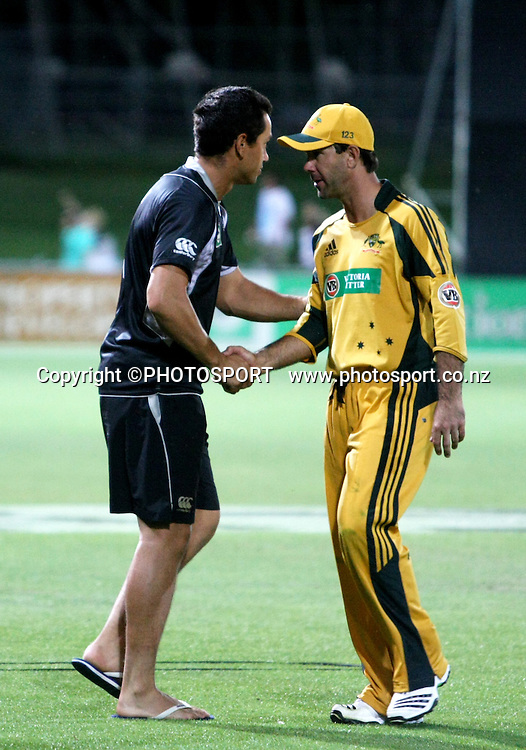 Captain Ross Taylor shakes hands with Ricky Ponting after the match. New Zealand Black Caps v Australia. 1st ODI, Chappell-Hadlee Trophy Series. McLean Park, Napier. Wednesday 03 March 2010  Photo: John Cowpland/PHOTOSPORT