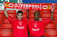 Fotball: An early Christmas present for Reds fans as Liverpool unveil Czech international striker Milan Baros (left) and French striker Nicolas Anelka (right) at Anfield. Monday 24th December 2001.<br />