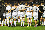 Glasgow team talk after losing the Guinness Pro 14 2017_18 match between Edinburgh Rugby and Glasgow Warriors at Myreside Stadium, Edinburgh, Scotland on 28 April 2018. Picture by Kevin Murray.