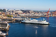 A Washington state ferry arrives at Colman Dock on the Seattle, Washington waterfront in this aerial view captured from the Seattle Great Wheel.