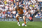 Hull City midfielder Jarrod Bowen (20) battles for possession  with West Bromwich Albion defender Kieran Gibbs (3) during the EFL Sky Bet Championship match between West Bromwich Albion and Hull City at The Hawthorns, West Bromwich, England on 19 April 2019.