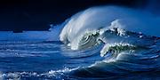 Powerful shorebreak waves of Waimea Bay, hawaii