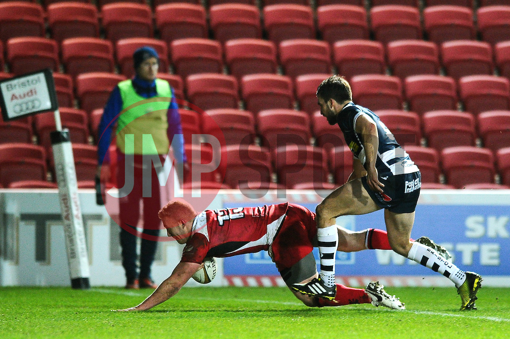 Ulster Outside Centre Stuart Olding (captain) dives across the line to score a try to make it 11-13 - Mandatory byline: Dougie Allward/JMP - 22/01/2016 - RUGBY - Ashton Gate -Bristol,England - Bristol Rugby v Ulster Rugby - B&I Cup