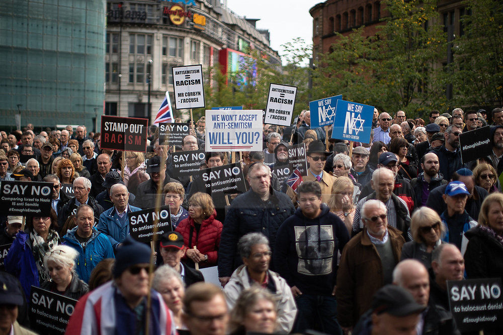 © Licensed to London News Pictures . Manchester , UK . FILE PICTURE DATED 16/09/2018 of thousands of people attending a demonstration against rising anti-Semitism in British politics and society , at Cathedral Gardens in Manchester City Centre as today (14th November 2018) Josh Brogan has been handed a six month sentence for a racially aggravated public order offence after being seen performing a Nazi salute and shouting abuse at Jewish people at the demonstration . Photo credit : Joel Goodman/LNP<br /> <br /> For more information see https://www.manchestereveningnews.co.uk/news/greater-manchester-news/moment-racist-yob-arrested-after-15416089
