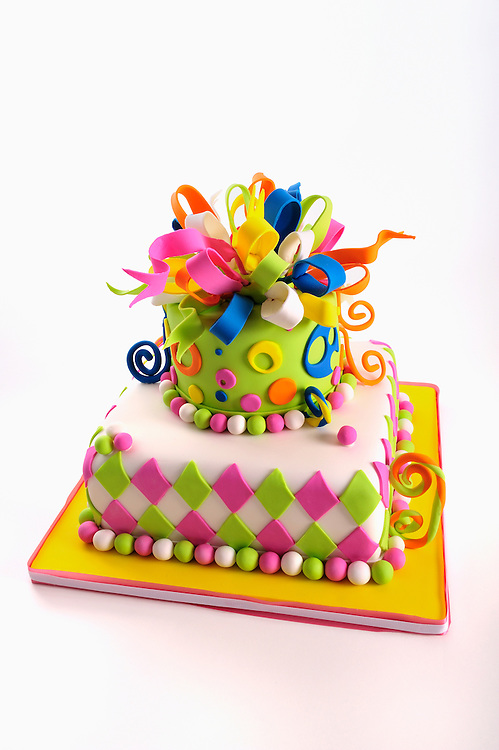 Colorful Birthday Cake On White With Copy Space Marianne