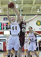 Monticello's Becca Dirks (44) and North-Linn's Libby Falconer (45) try to control a rebound during their Rivalry Saturday game at Washington High School at 2205 Forest Drive SE in Cedar Rapids on Saturday, January 21, 2012. (Stephen Mally/Freelance)