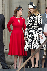 © Licensed to London News Pictures. 10/06/2016. PRINCESS EUGINE and PRINCESS BEATRICE attend The National Service of Thanksgiving to mark the 90th Birthday of Queen Elizabeth II at St Paul's Cathedral. London, UK. Photo credit: Ray Tang/LNP
