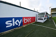 Sky bet advertising board inside Home Park Stadium before the EFL Sky Bet League 1 match between Plymouth Argyle and Accrington Stanley at Home Park, Plymouth, England on 22 December 2018.