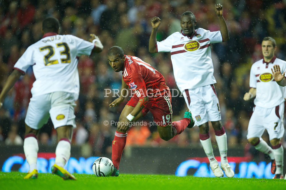 LIVERPOOL, ENGLAND - Wednesday, September 22, 2010: Liverpool's Ryan Babel in action against Northampton Town during the Football League Cup 3rd Round match at Anfield. (Photo by David Rawcliffe/Propaganda)