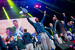 Anthony Randolph with trophy during Reception of Slovenian national baskteball team with Gold medal from Eurobasket 2017 - Istanbul and Slovenian women's U23 volleyball team with Silver medal from Women's U23 World Championships - Ljubljana, on September 18, 2017 in Kongresni trg, Ljubljana, Slovenia. Photo by Matic Klansek Velej / Sportida