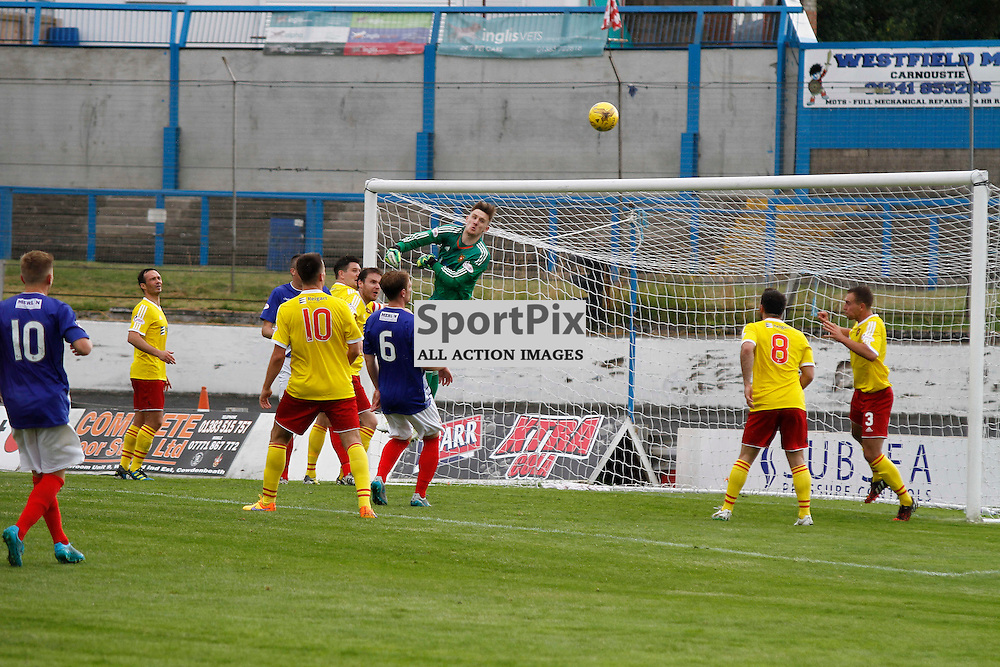 Cowdenbeath FC V  Albion Rovers FC, Scottish League 1, 22nd August 2015Cowdenbeath FC V  Albion Rovers FC, Scottish League 1, 22nd August 2015<br /> <br /> ALBION ROVERS GOALKEEPER #1 ROSS STEWART TRIES TO SAVE ANOTHER COWDENBEATH SHOT ON TARGET