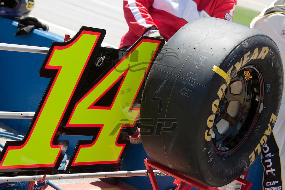 TALLADEGA, AL - APR 17, 2011:  Tony Stewart's pit stall during the Aaron's 499 at the Talladega Superspeedway in Talladega, AL.